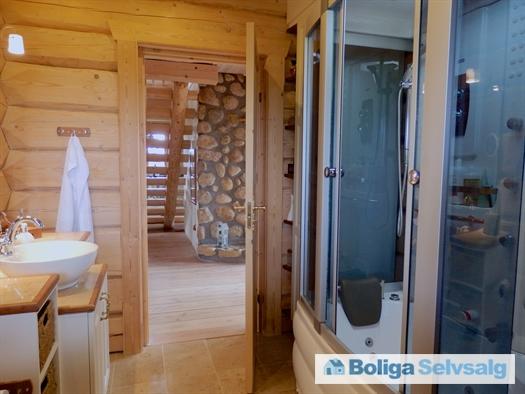 Badeværelse stueplan. Lukket bad med spa og damp til højre.