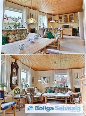 Den 'lille' stue er en vinkelstue, med sofa- og spiseafd. Kan meget let laves til to soveværelser af fin størrelse.