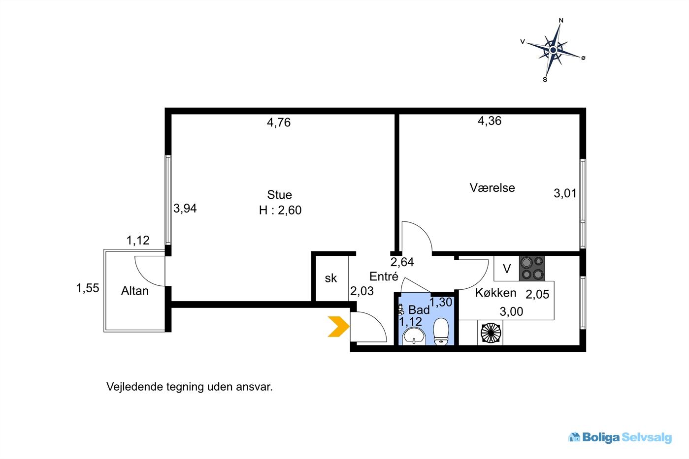 Landlystvej 5A, 1. tv., 2500 Valby
